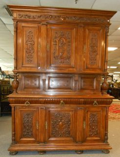 "Antique Italian Walnut Sideboard Beautiful Antique Italian Carved Walnut Sideboard. Circa 1890's. Stands 97"" tall x 70"" wide x 24"" deep. Serious inquires Please contact us. Click on Picture to see Price and additional photos of this item."