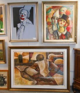 We have a Large Selection of Fine Art We Always have a Large Selection of Fine Art. Original Oil Paintings to Lithographs, Seriographs, Prints and some reproductions. Please stop by our 18,000 square foot Showroom or contact us Today for Current Inventory and Sale Prices.