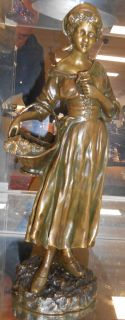 "Antique Bronze by Joseph D'Aste Beautiful Antique Bronze figure by Joseph D'Aste (1881 - 1945). Titled ""Flower Seller"".  Signed D'Aste. Mint condition. Stands 13-1/4"" tall. Serious inquires Please contact us. Click on Picture to see additional photos."