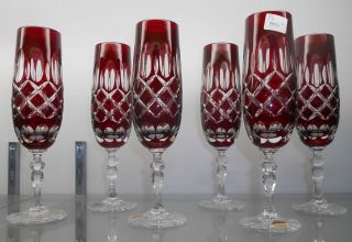 Set of 6 Ruby Red European Cut Crystal Champagne Glasses  Set of 6 Ruby Red European Cut Crystal Champagne Glasses. Mint Condition. No damage. Serious inquires Please contact us. Click on Picture to see additional photos.