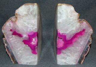 """Pair (2) of Large Brazilian Pink Agate Bookends  Pair (2) of Large Brazilian Pink Agate Bookends. Each stands 7-1/2"""" tall. Condition is Mint. No Damage. Serious inquires Please contact us. Click on Picture to see additional photos."""