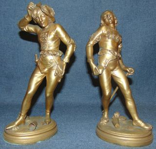 "Pair of Antique Gilt Bronze Figures by Bouillard Pair of Antique Gilt Bronze Figures of Jesters. Each is signed ""Bouillard"". Each Measures 11"" tall. Condition is very good with some wear and losses to patina (see close-up photos). No damage. Serious inquires Please contact us. Click on Picture to see additional photos."
