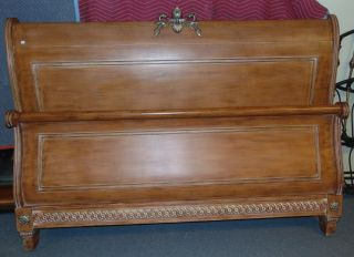 """King Size Sleigh Bed Contemporary King Size Sleigh Bed. Hardly used. Headboard measures 57"""" tall x 82"""" wide. Footboard measures 37"""" tall x 82"""" wide. Condition is very good. No Damage. Serious inquires Please contact us. Click on Picture to see additional photos."""
