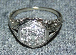 Vintage Deco 18K White Gold & Diamond Ring Circa 1930's Vintage Art Deco 18K White Gold and Diamond Ring. Circa 1930's. 1 ct total weight. Size 6-1/2. Starting Bid $50. Auction Estimate $900 - $1000.
