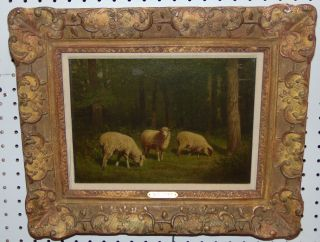 "Original Sheep Oil Painting by Samuel S. Carr (1837-1908) Original Oil on Canvas Painting by Samuel S. Carr (American 1837-1908). 3 grazing Sheep. Signed ""SS Carr"" in lower left. Frame measures 15"" tall x 18"" wide. Condition is very good. 1 slight blemish on canvas (see close-up photo). Starting Bid $50. Auction Estimate $1500 - $1800."