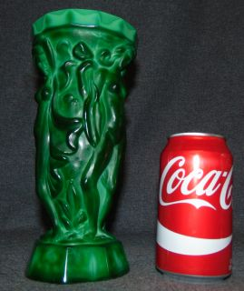 "Czech Bohemian Malachite Crystal Glass Art Deco Vase Beautiful Czech Bohemian Malachite Crystal Glass Art Deco Vase. Figural Nudes. Measures 9"" tall x 4-1/4"" wide. Marked ""Ornela"", ""Czech Republic"". Condition is New, Mint. No Damage. Starting Bid $50. Auction Estimate $450 - $550."
