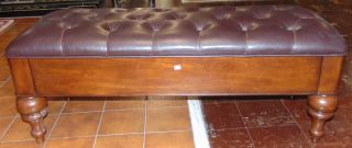 """Mahogany & Leather Tufted Trunk Bench Mahogany & Leather Tufted Trunk Bench. Measures 19"""" tall x 48"""" wide x 18"""" deep. Condition is very good with minimal wear. No damage. Starting Bid $50. Auction Estimate $200 - $250."""