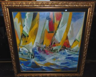 """""""Les Voiliers"""" Limited Edition Giclee by Pierre Pivet Framed and Matted, Hand Embellished, Limited Edition Color Giclee on Canvas by Listed Artist Pierre Pivet. Titled """"Les Voiliers"""". Artist signed. Beautiful contemporary sailboats by Pierre Pivet with vibrant colors. Limited Edition #3 of 195. Frame measures 30"""" tall x 46"""" wide. Condition is very good with minimal wear. Small scratch (see close-up photo). Includes Certificate of Authenticity. Starting Bid $50. Auction Estimate $250 - $350."""