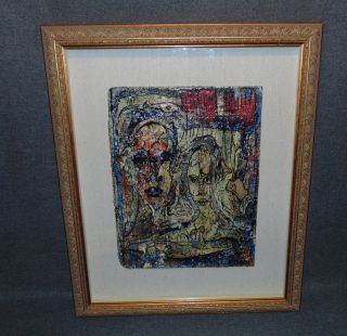 """Original Contemporary Oil Painting by Alexander Gore Original Oil Painting under glass by Russian Artist """"Alexander Gore"""". Titled """"Under the Red Rain, From Dusia to Another"""". Artist signed and Dated 2015. Frame measures 22-1/2"""" tall x 18-1/2"""" wide. Includes Certificate of Authenticity. Condition is Excellent. No Damage. Starting Bid $50. Auction Estimate $70 - $100."""