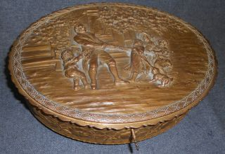 "Antique Gilt Bronze Oval Jewelry Box Casket 19th Century Antique Gilt Bronze Oval Jewelry Box or Casket. Very High Quality. 19th Century. Fully Lined. Wonderful relief scenes all around as well as a Lovely Family at Play Scene on the Lid. Retains original key. Measures 11"" x 8-1/4"" x 3-3/4"" tall. Condition is very good. Silk Liner has minor losses. Starting Bid $50. Auction Estimate $250 - $350."