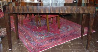 """Contemporary Marquetry Console Table Contemporary Modern Marquetry Console Table. Measures 60"""" wide x 18"""" deep x 33-1/2"""" tall. Condition is good with some minor wear. Starting Bid $50. Auction Estimate $150 - $250."""