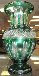 "Emerald Green European Cut Crystal Vase Emerald Green European Cut to Clear, Crystal Vase. Very Thick and Heavy. Measures 14-1/4"" tall x 8"" wide. Condition is excellent. No damage at all. Starting bid $50. Auction Estimate $120 - $150."