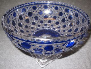 """Cobalt Blue European Cut Crystal Compote Cobalt Blue European Cut Crystal Compote. Heavy Lead Crystal. Measures 11-1/2"""" round x 8-1/2"""" tall. Condition is Excellent, Mint. No damage. Starting bid $50. Auction Estimate $80 - $120."""