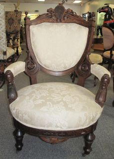 "Antique ""John Jelliff"" Walnut Parlour Arm Chair Beautiful Antique Victorian Renaissance Upholstered Arm Chair. Original finish. Carved Walnut. Attributed to John Jelliff. Circa 1880. Very High Quality Carving. Measures 30"" wide x 30"" deep x 43"" tall. Condition is great. Excellent. No Damage. Starting Bid $50. Auction Estimate $150 - $250."
