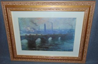 """Waterloo Bridge, Overcast Weather"" by Claude Monet Lovely Framed & Matted Claude Monet Print, Titled ""Waterloo Bridge, Overcast Weather"". Measures 18-3/4"" tall x 24"" wide. Condition is very good. No Damage. Starting Bid $30. Auction Estimate $30 - $40."