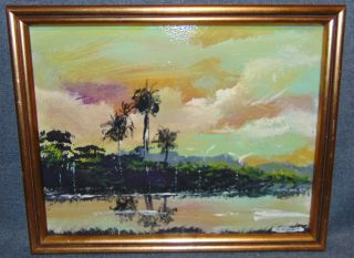 "Original Florida Highwayman Painting by Michael Sears This is an Original, modern-day Florida Highwayman painting by contemporary artist, Micheal Sears. Large Oil on Masonite. Nicely framed. Artist Signed. Measures 12-1/4"" tall x 15-1/4"" wide. Condition is very good. No Damage. Michael Sears (1962- present) is 2nd generation trained by George Buckner Jr. Original member, and personally influenced by the several other members of this art movement with whom he interacted. He remains true to Highwaymen subject, style, materials and outdoor selling methods. Starting Bid $50. Auction Estimate $50 - $60."