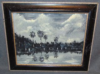 "Original Florida Highwayman Painting by Michael Sears Original, modern-day Florida Highwayman painting by contemporary artist, Micheal Sears. Large Oil on Masonite. Nicely framed. Artist Signed. Measures 14-1/2"" tall x 17-3/4"" wide. Condition is very good. No Damage. Michael Sears (1962- present) is 2nd generation trained by George Buckner Jr. Original member, and personally influenced by the several other members of this art movement with whom he interacted. He remains true to Highwaymen subject, style, materials and outdoor selling methods. Starting Bid $50. Auction Estimate $60 - $80."