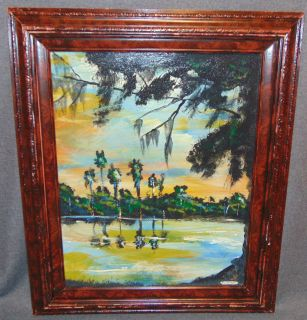 """Original Florida Highwayman Painting by Michael Sears Original, modern-day Florida Highwayman painting by contemporary artist, Micheal Sears. Large Oil on Masonite. Nicely framed. Artist Signed. Measures 26"""" tall x 21-1/2"""" wide. Condition is very good. No Damage. Michael Sears (1962- present) is 2nd generation trained by George Buckner Jr. Original member, and personally influenced by the several other members of this art movement with whom he interacted. He remains true to Highwaymen subject, style, materials and outdoor selling methods. Starting Bid $50. Auction Estimate $80 - $120."""