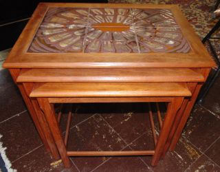 """Set of 3 Tile Top Stack Tables Set of 3 Stack Tables with Tile top. Largest table measures 19-1/2"""" tall x 21-1/2"""" wide x 15-1/2"""" deep. Condition is very good with minimal wear. No damage. Starting Bid $50. Auction Estimate $80 - $120."""