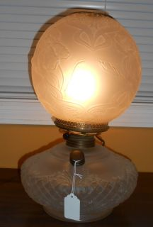 "Frosted Glass Gone With The Wind Table Lamp Vintage Frosted Glass Gone With The Wind Table Lamp. Stands 15"" tall. Good Condition. No Damage. Works great. Starting bid $50. Auction Estimate $80 - $120."