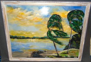 "Original Florida Highwayman Painting by Michael Sears This is an Original, modern-day Florida Highwayman painting by contemporary artist, Micheal Sears. Large Oil on Masonite. Nicely framed. Artist Signed. Measures 33-1/4"" tall x 43-1/4"" wide. Condition is very good. No Damage. Michael Sears (1962- present) is 2nd generation trained by George Buckner Jr. Original member, and personally influenced by the several other members of this art movement with whom he interacted. He remains true to Highwaymen subject, style, materials and outdoor selling methods. Starting Bid $50. Auction Estimate $100 - $150."