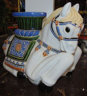 "Ceramic Hollywood Regency Style Horse Garden Stool Seat Vintage Mid-Century, Hollywood Regency Style Horse or Pony Ceramic Garden Stool Seat. Measures 16"" tall x 20"" wide x 9"" deep. Overall condition is good. 1 small chip (see close up photo). Starting Bid $40. Auction Estimate $50 - $60."