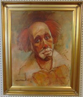 """Original Oil Painting Barry Leighton Jones Original Oil on Canvas Painting of a Clown by Barry Leighton Jones (British 20th cent). Artist Signed lower left and dated 1982. Nicely Framed. Frame measures 36"""" tall x 30"""" wide. Condition is very good. No Damage. Starting Bid $50. Auction Estimate $250 - $350."""