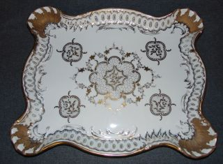 """Large Hand Painted Antique Porcelain Platter Beautifully Hand Painted Antique Porcelain Platter. Large and Very heavy. Possibly Sevres. Similar mark. Marked and Artist Signed. Measures 17-3/4"""" x 14-1/2"""". Condition is very good. No Damage. Starting Bid $50. Auction Estimate $50 - $70."""