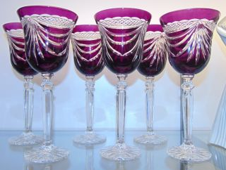 "6 Amethyst Bohemian Cut to Clear Crystal Wine Glasses Beautiful Set of 6 Amethyst Bohemian Cut to Clear Crystal Wine Glasses. Heavy and high quality European Leaded Crystal. Each measures 8-3/4"" tall. Condition is New, Mint. No Damage. Includes Fitted and lined Gift Box. Starting Bid $50 for all 6. Auction Estimate $200 - $250."