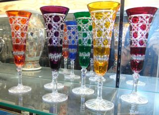 """6 Multi-Color Bohemian Cut Crystal Champagne Glasses Beautiful Set of 6 Multi-Color Bohemian Cut to Clear Crystal Champagne Glasses. Heavy and high quality European Leaded Crystal. Each measures 8-7/8"""" tall. Condition is New, Mint. No Damage. Includes Fitted and lined Gift Box. Starting Bid $50 for all 6. Auction Estimate $200 - $250."""