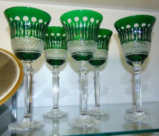 "6 Green Bohemian Cut to Clear Crystal Wine Glasses Beautiful Set of 6 Kelly Green Bohemian Cut to Clear Crystal Wine Glasses. Heavy and high quality European Leaded Crystal. Each measures 9"" tall. Condition is New, Mint. No Damage. Includes Fitted and lined Gift Box. Starting Bid $50 for all 6. Auction Estimate $200 - $250."