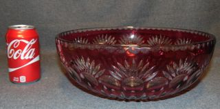 "Ruby Red Bohemian Cut to Clear Crystal Bowl Ruby Red Bohemian Cut to Clear Crystal Bowl. Heavy and high quality European Leaded Crystal. Measures 4-1/2"" tall x 11-1/2"" wide. Condition is New, Mint. No Damage. Starting Bid $50. Auction Estimate $200 - $250."