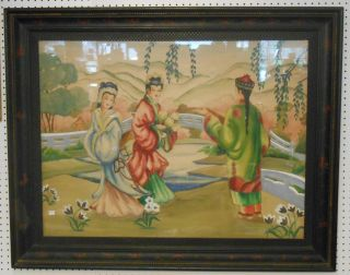 """Original Asian Watercolor signed """"Suzette"""" Large Vintage Asian Watercolor. Framed and under Glass. Well Executed. Artist Signed """"Suzette"""". Frame measures 49"""" x 38-1/2"""". Art measures 40"""" x 30"""". Condition is very good. Starting bid $50. Auction Estimate $80 - $120."""