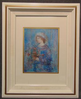 """Edna Hibel (1917-2014) Framed and Matted Print Edna Hibel (1917-2014) Framed and Matted Print. Edna Hibel, a painter of sentimental pictures of children, has had a more than 60-year career as painter and lithographer and promoter of peace through exhibitions of her artwork. Hibel's work has been exhibited in museums and galleries in more than 20 countries including Russia, Brazil, China, Costa Rica, and the United States, and under the royal patronage of Count and Countess Bernadotte of Germany, Count Thor Bonde of Sweden, Prince and the late Princess Rainier of Monaco and Her Majesty Queen Elizabeth II of England. Frame measures 21-1/2"""" tall x 17-1/2"""" wide. Condition is very good with minimal wear. No damage. Starting Bid $30. Auction Estimate $30 - $40."""