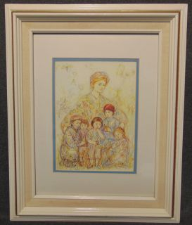 "Edna Hibel (1917-2014) Framed and Matted Print Edna Hibel (1917-2014) Framed and Matted Print. Edna Hibel, a painter of sentimental pictures of children, has had a more than 60-year career as painter and lithographer and promoter of peace through exhibitions of her artwork. Hibel's work has been exhibited in museums and galleries in more than 20 countries including Russia, Brazil, China, Costa Rica, and the United States, and under the royal patronage of Count and Countess Bernadotte of Germany, Count Thor Bonde of Sweden, Prince and the late Princess Rainier of Monaco and Her Majesty Queen Elizabeth II of England. Frame measures 21"" tall x 16-3/4"" wide. Condition is very good with minimal wear. No damage. Starting Bid $30. Auction Estimate $30 - $40."