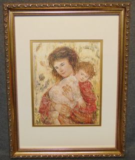 "Edna Hibel (1917-2014) Framed and Matted Print Edna Hibel (1917-2014) Framed and Matted Print. Edna Hibel, a painter of sentimental pictures of children, has had a more than 60-year career as painter and lithographer and promoter of peace through exhibitions of her artwork. Hibel's work has been exhibited in museums and galleries in more than 20 countries including Russia, Brazil, China, Costa Rica, and the United States, and under the royal patronage of Count and Countess Bernadotte of Germany, Count Thor Bonde of Sweden, Prince and the late Princess Rainier of Monaco and Her Majesty Queen Elizabeth II of England. Frame measures 18"" tall x 14"" wide. Condition is very good with minimal wear. No damage. Starting Bid $30. Auction Estimate $30 - $40."
