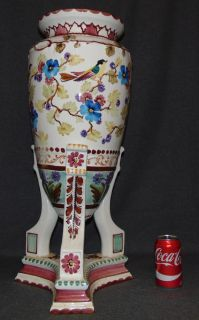 "Large Hand Painted Porcelain Vase  Beautiful Hand Painted Vase or Umbrella Stand. Well executed. Measures 26-1/2"" tall x 12"" wide. No Makers mark. Condition is very good. No Damage. Starting Bid $50. Auction Estimate $200 - $250."