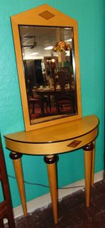 "Contemporary Console Table and Mirror Contemporary Console Table and matching Mirror. Console Base measures 30"" tall x 34"" wide x 13-1/2"" deep. Mirror is 36"" tall x 21"" wide. Condition is very good. No Damage. Starting Bid $50. Auction Estimate $70 - $80."