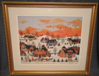 "Limited Edition Lithograph by Jane Wooster Scott Lovely Framed Limited Edition Lithograph by Jane Wooster Scott. Titled ""A Sunset Long Ago"". Numbered 111 of 750 and Signed. Frame measures 30-1/2"" tall x 36"" wide. Overall condition is good. Starting Bid $50. Auction Estimate $150 - $250."