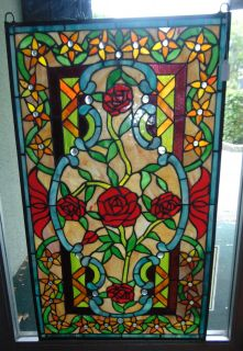 "Custom Stained Glass Hanging Panel Custom Stained Glass Hanging Window Panel. Excellent quality. Measures 33-3/4"" tall x 19-1/2"" wide. Condition is New. No Damage. Starting Bid $50. Auction Estimate $100 - $150."