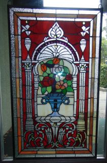 """Custom Stained Glass Hanging Panel Custom Stained Glass Hanging Window Panel. Excellent quality. Panel measures 34-1/2"""" tall x 20-1/2"""" wide. Condition is New. No Damage at all. Starting Bid $50. Auction Estimate $100 - $150."""