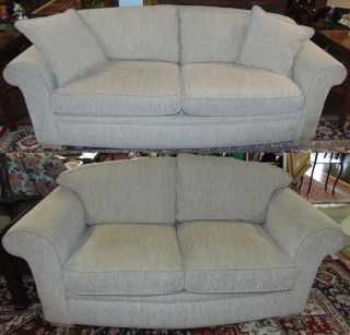"Berhardt Uphostered Sofa & Loveseat LIKE NEW Berhardt Uphostered Sofa & Loveseat. Sofa measures 33"" tall x 86"" wide x 38"" deep. Loveseat measures 33"" tall x 69"" wide x 38"" deep. Condition of both is Like New. Mint. No Damage. Starting Bid $50 for both. Auction Estimate $500 - $700."