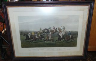 """Our Gentlemen Steeplechase Riders"" Engraving Hand Coloured engraving by E.G. Hester. Painted by George Veal. Titled ""McQueen's Steeple Chasings, Our Gentlemen Steeple Chase Riders"". Signed by of all participants. Published Dec. 1st 1885 by F.C. Mcqueen & Sons, 181 Tottenham Court Rd., London. Frame measures "" tall x "" wide x "" deep. Overall condition is good with minor wear typical from age. Starting Bid $50. Auction Estimate $80 - $120."