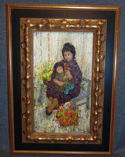 """Original Oil on Canvas by Mildred Barrett Original Oil on Canvas Painting by Listed Artist Mildred Barrett. Lovely Mother and Child with Flowers. Nicely Framed. Artist Signed. Frame measures 17-3/4"""" tall x 12-3/4"""" wide. Condition is very good. No Damage. Barrett has had numerous one-woman shows on Madison Avenue in New York and in galleries on Long Island and her works have been sold and re collected all over the United States, Canada, and Europe. Her paintings are also on permanent display at Bergdorf Goodmans', Nenas Choice Gallery. Starting Bid $50. Auction Estimate $150 - $200."""