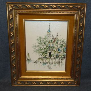 """Original Oil on Canvas Piet Mulder Original Oil on Canvas by Listed Belgian Artist """"Piet Mulder"""" (1919-2001). Lovely Dutch Village and Canal Scene. Artist Signed. Frame measures 15-1/2"""" tall x 13-1/4"""" wide. Condition is very good. No Damage. Starting Bid $50. Auction Estimate $60 - $80."""