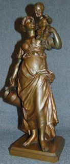 "19th Century Bronze by Edmond Louis Charles Tassel Antique Patinated Bronze Figure by Edmond Louis Charles Tassel (French, active 1870-1900). A Woman and Child. She is exceptionally well detailed from head to toe. She stands 15"" tall. Signed ""E. Tassel"" with Foundry mark as well as ""Giraud"". Condition is excellent. Original Patina. No damage. Starting Bid $50. Auction Estimate $900 - $1200."