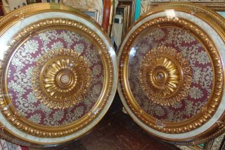 "2 Gold Burgundy Brocade Ceiling Medallions Pair (2) Gold Burgundy Brocade Ceiling Medallions. Classic Ceiling Medallion Designed With Elegance In Mind Features A Rich Burgundy Brocade Interior Design Surrounded By Contrasting Gold Molding And Accents. Brand new. Each measures 47"" in diameter x 3"" thick. Condition is New, Mint. No Damage. Starting Bid $50 for both. Auction Estimate $400 - $500."