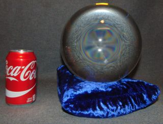 "200mm Clear Crystal Ball on Blue Velvet Pillow Beautiful Clear 200mm Crystal Ball on Blue Velvet bean Pillow. Aprox 200mm. 8"" diameter. Condition is Excellent. Mint. Starting Bid $50. Auction Estimate $80 - $100."