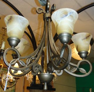 "Wrought Iron 5 Light Chandelier Wrought Iron 5 Light Chandelier with Art Glass Globes. Measures 25"" x 25"". Condition is very good. No Damage. Starting Bid $50. Auction Estimate $80 - $120."