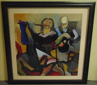 """Large Contemporary Print """"Moments"""" Large Framed and Matted Contemporary Print Under Glass. Titled """"Moments"""". Frame measures 50-1/2"""" tall x 50-1/2"""" wide. Condition is good. No damage. Starting Bid $50. Auction Estimate $150 - $250."""